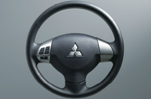 Lancer Ex 3-Spoke Leather-Wrapped Steering Wheel With Audio Controls